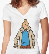 Tintin Solo Women's Fitted V-Neck T-Shirt