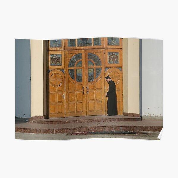 Priest Locking Church Doors, Chortkiw Ukraine Poster
