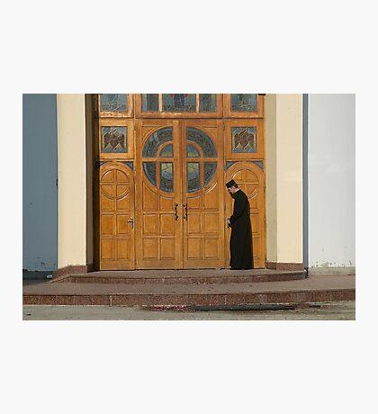 Priest Locking Church Doors, Chortkiw Ukraine Photographic Print
