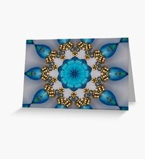 Blue and Gold Kaleidoscope Greeting Card