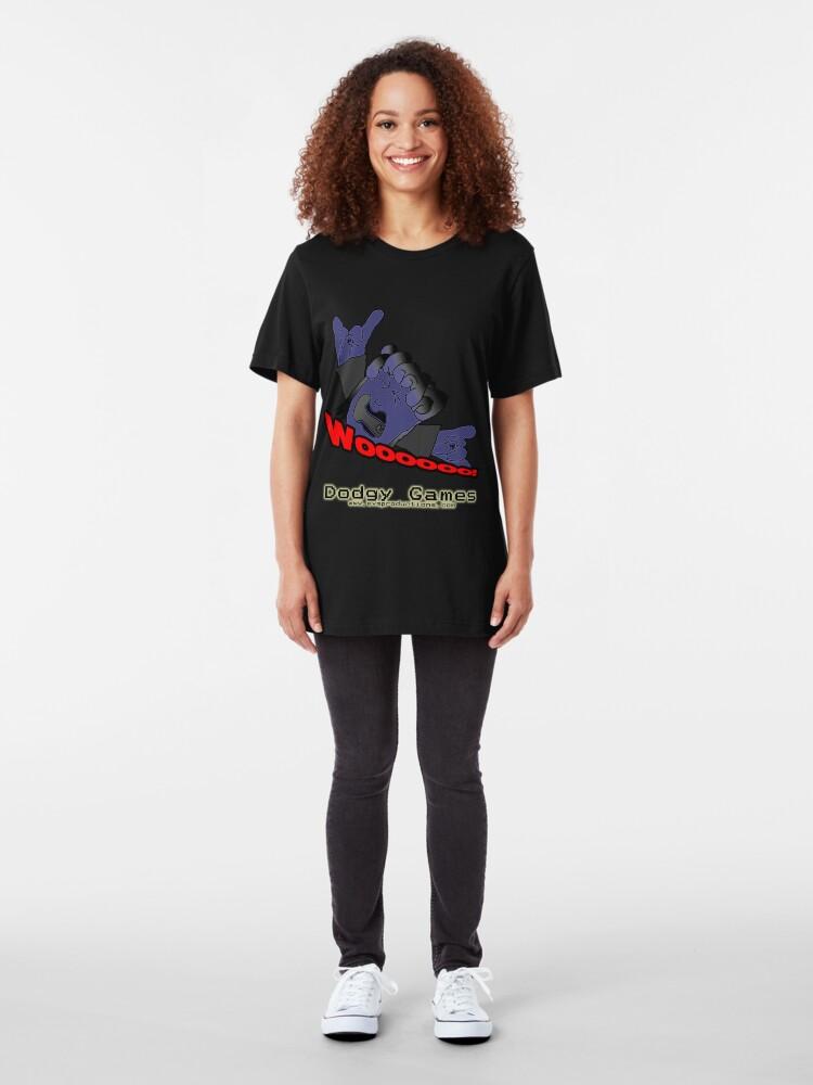 "Alternate view of Dodgy Games ""Woooooo"" Shirt Slim Fit T-Shirt"