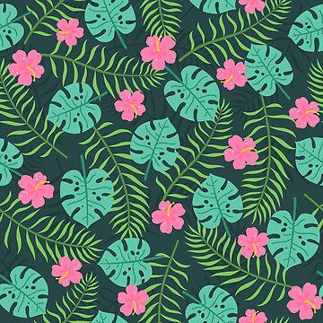 Dark tropical pattern by kondratya