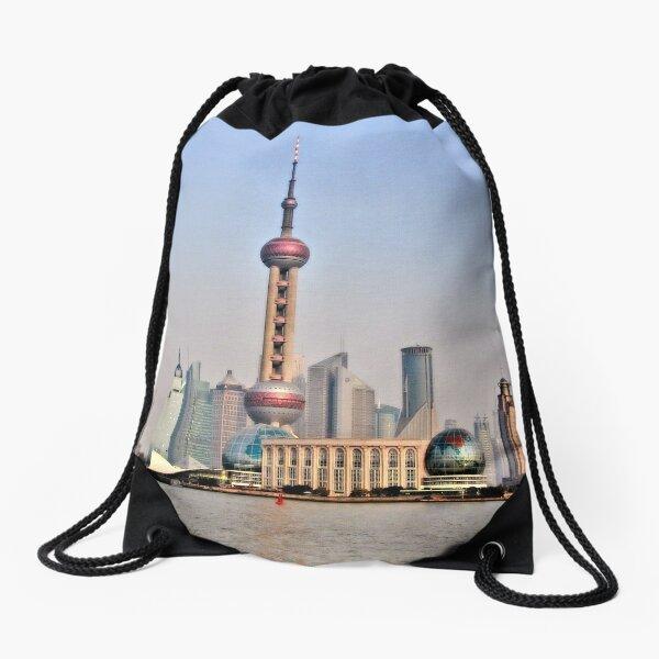 Shanghai View Drawstring Bag