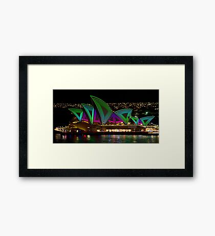 Time Tunnel Sails - Sydney Vivid Festival - Sydney Opera House Framed Print