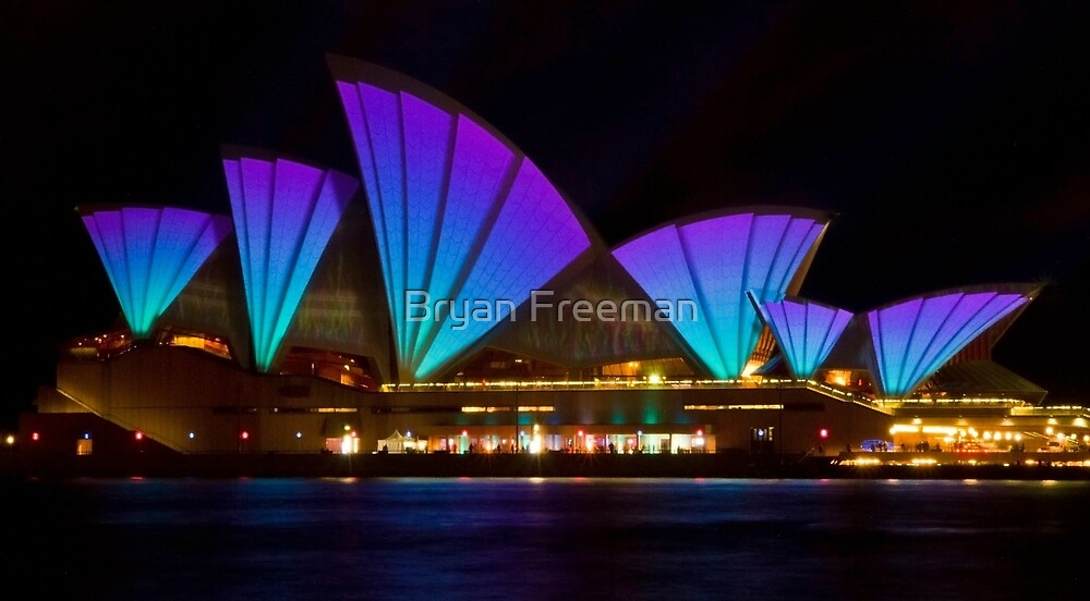 Clear Blue Sails - Sydney Vivid Festival - Sydney Opera House by Bryan Freeman