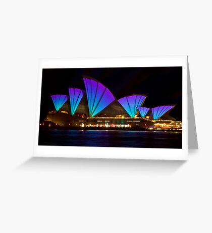 Clear Blue Sails - Sydney Vivid Festival - Sydney Opera House Greeting Card