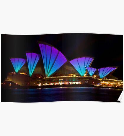Clear Blue Sails - Sydney Vivid Festival - Sydney Opera House Poster