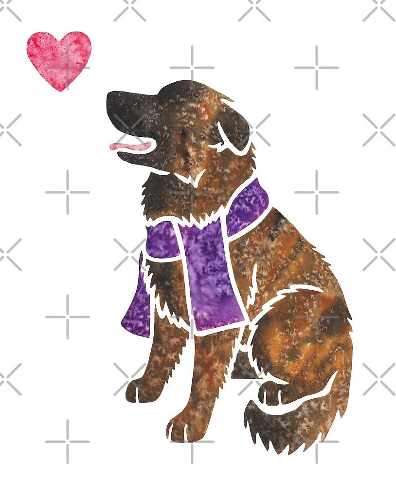 Watercolour Estrela Mountain Dog (brindle) by animalartbyjess