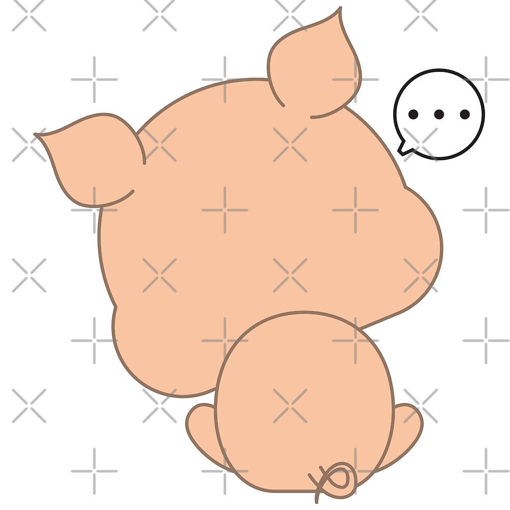 Cute funny cartoon pig - Don't want to face by aslai