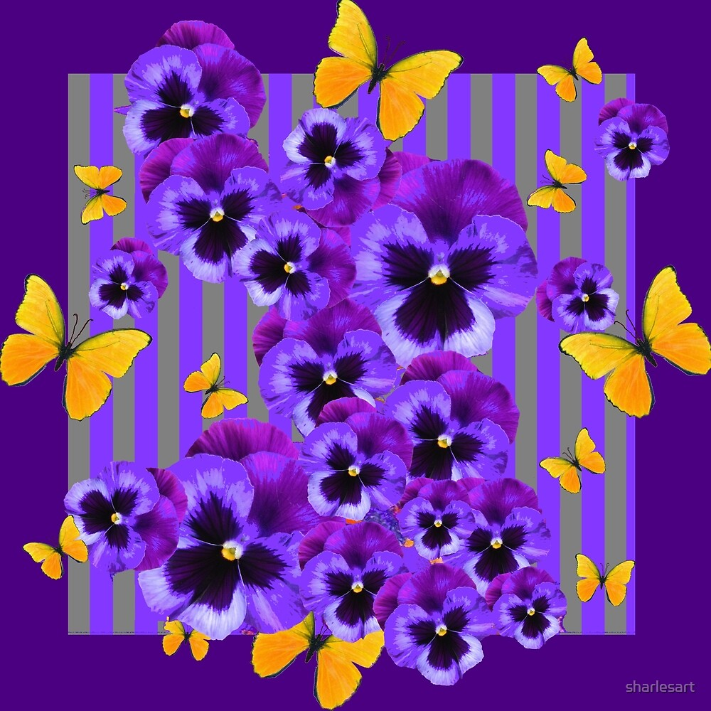 GOLDEN YELLOW BUTTERFLIES PURPLE PANSIES    by sharlesart