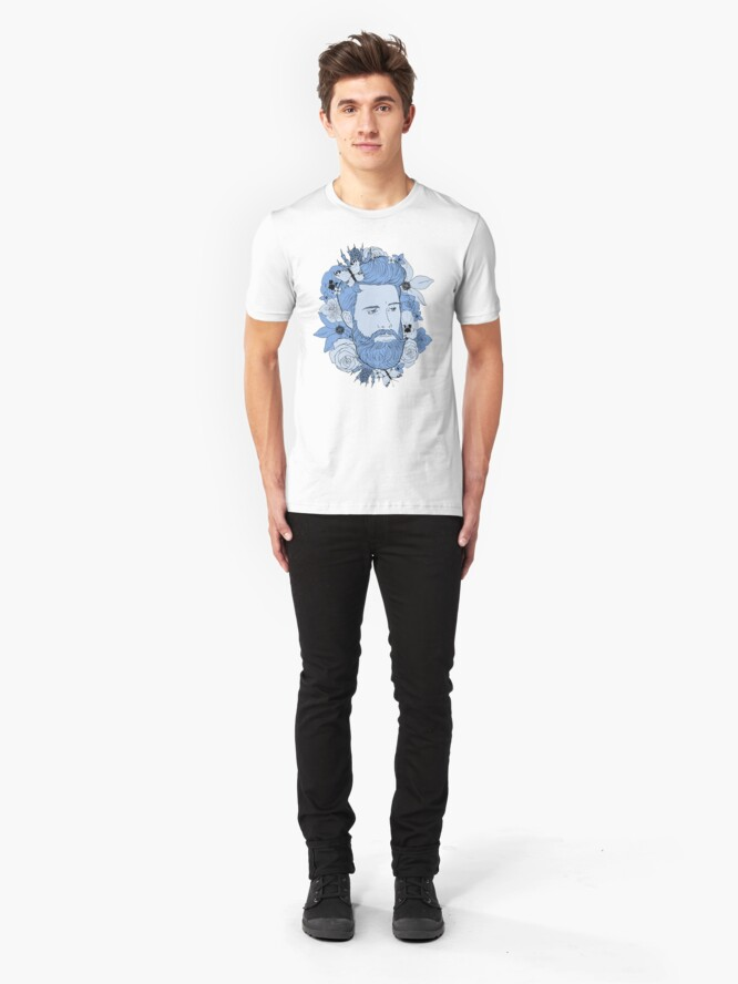 Alternate view of Feeling blue... floral bear Slim Fit T-Shirt
