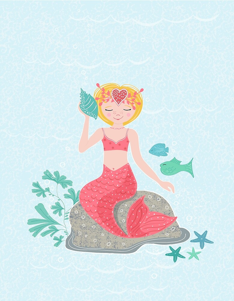 Mermaid, Starfish and Fish - Blonde & Coral by diane-rooney