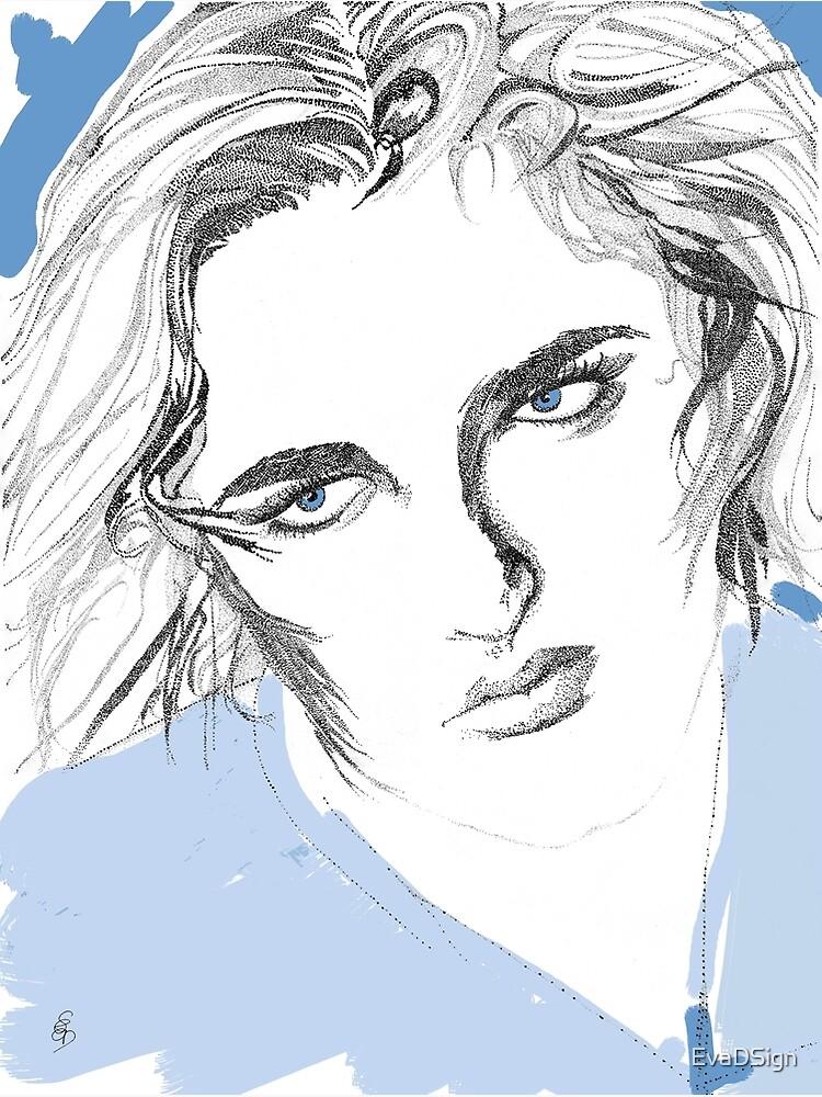 Mädchen mit blauen Augen - Girl with blue eyes von EvaDSign