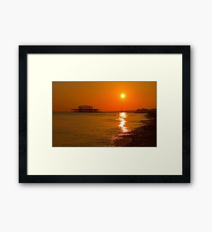 Burnished Sunset - Brighton - England Framed Print