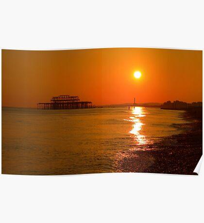 Burnished Sunset - Brighton - England Poster