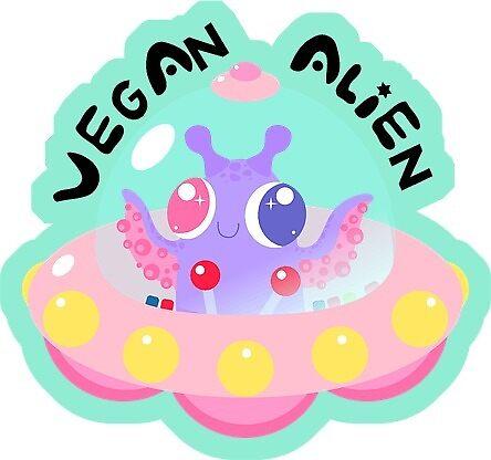 Vegan alien kawaii cute by veganstickers
