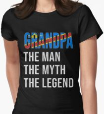 Congolese Grandpa The Man The Myth The Legend, Gift For Congolese Granddad From  Democratic Republic Of Congo -  Democratic Republic Of Congo Flag in Grandpa Women's Fitted T-Shirt