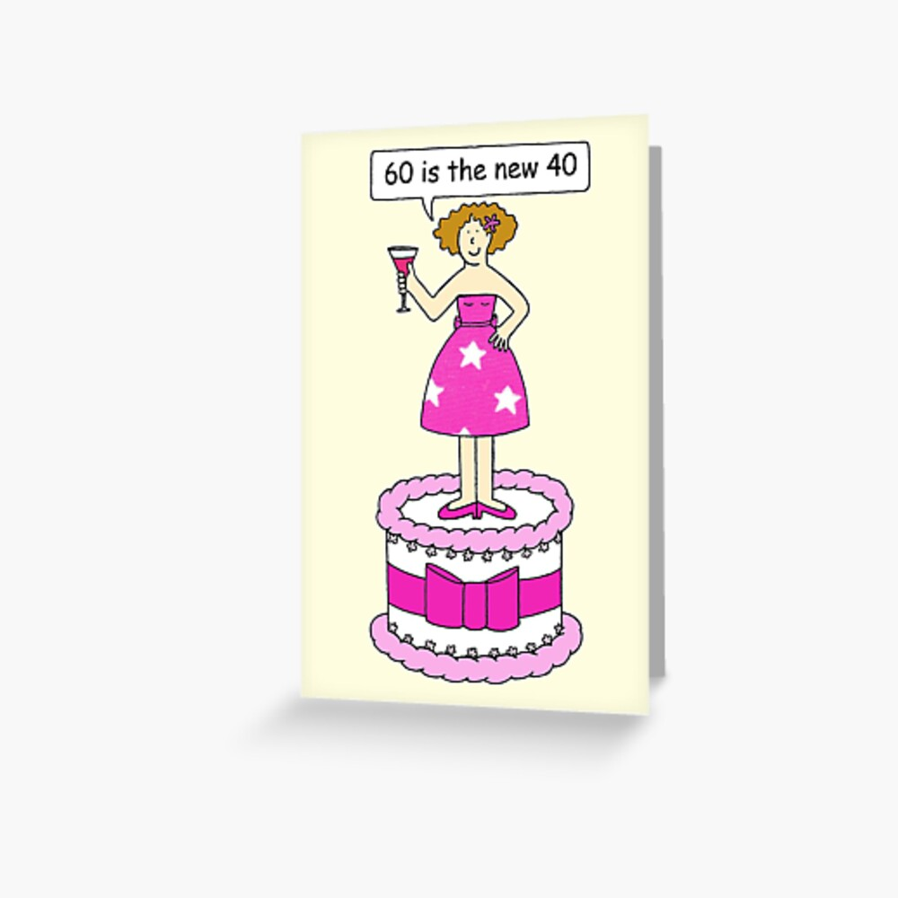 Amazing 60Th Birthday Humor For Her Cartoon Lady On A Cake Greeting Funny Birthday Cards Online Alyptdamsfinfo