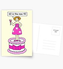 60th Birthday Humor for her, fun Lady on a Cake. Postcards