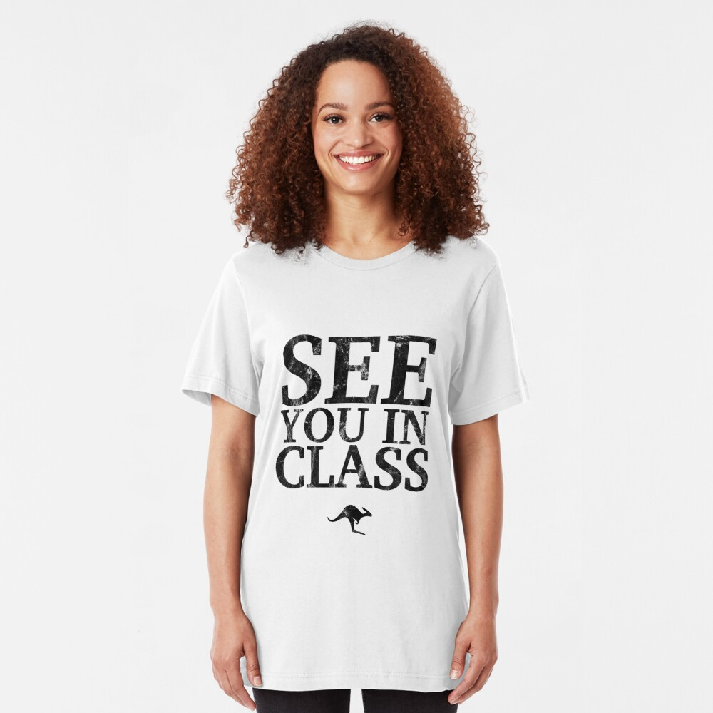 See You In Class (Black) Slim Fit T-Shirt