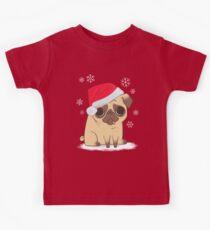 Christmas Pug (red) Kids T-Shirt