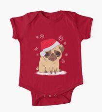 eff125d4f24 Christmas Pug (red) One Piece - Short Sleeve