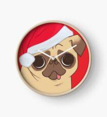 Christmas Pug (red) Clock