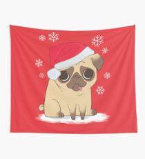 Weihnachtsmops (rot) Wandbehang