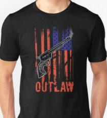 American Flag Cowboy Outlaw Gun Six-Shooter Unisex T-Shirt