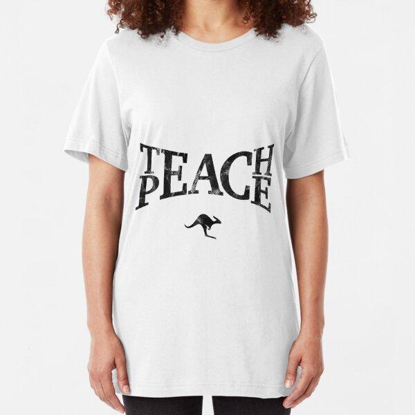 Teach Peace (Black) Slim Fit T-Shirt