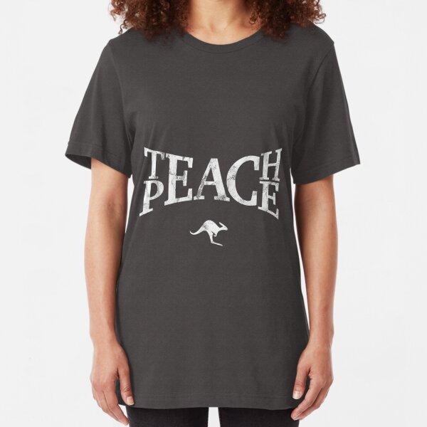 Teach Peace (White) Slim Fit T-Shirt