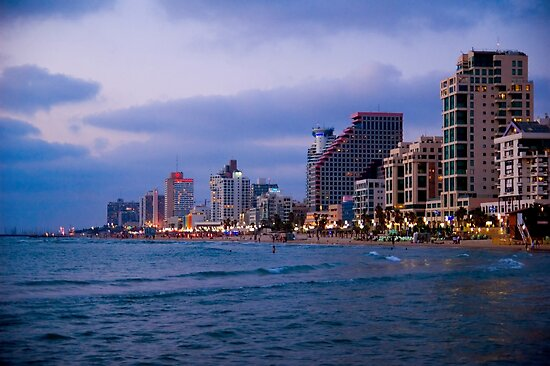 Israel, Tel Aviv sea front and hotel strip at sunset as seen from the south by PhotoStock-Isra