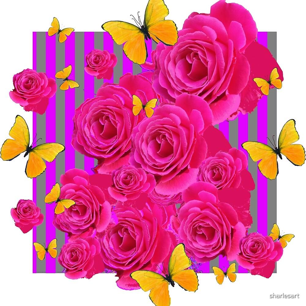 PINK GARDEN ROSES & YELLOW BUTTERFLIES MODERN ART by sharlesart