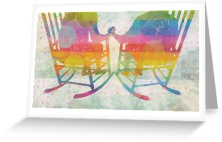 """""""Grow Old Along With Me"""" Two LGBT persons holding hands on rocking chairs within a rainbow by bebebelle"""