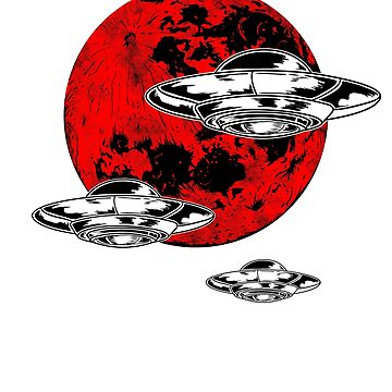 Blood Moon Alien Invasion UFO Lunar Eclipse T-Shirt by studio-gj