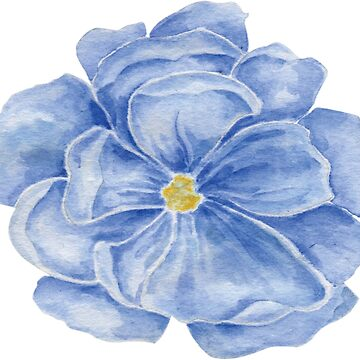 Blue Watercolor Bloom by thedailybunnies