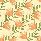 Tiger lily and leaves summery pattern by Lizziefij