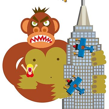 A large ape climbing a large building with a small woman in his large hand while small planes fire upon him by markdalderup