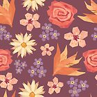 Purple & pink floral pattern by Lizziefij