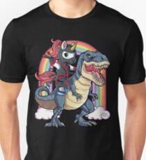 Einhorn-Ninja-Reitdinosaurier-T-Shirt T rex scherzt Mädchen-Jungen-Regenbogen-Gruppe nette Geschenk-Partei Slim Fit T-Shirt