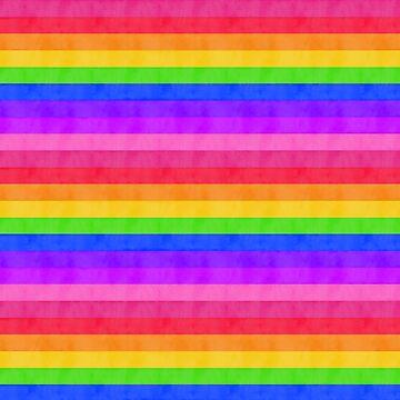 Rainbow Water Colour Stripes - Horizontal. 003 by ColourPortal101