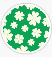 Off-White Four Leaf Clover Pattern with Green Background Sticker