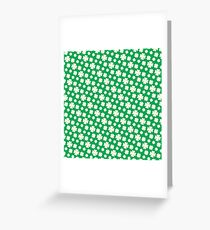 Off-White Four Leaf Clover Pattern with Green Background Greeting Card