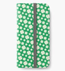 Off-White Four Leaf Clover Pattern with Green Background iPhone Wallet/Case/Skin