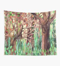 Lost in the Forest - watercolor painting collage Wall Tapestry