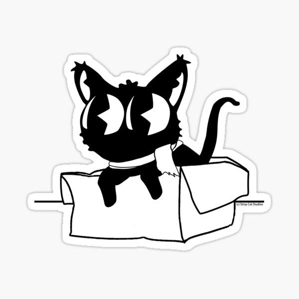 Box Cat Mascot Sticker - Stray Cat Studios Sticker