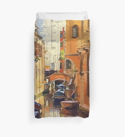 Vector Venice, Italy Canal Duvet Cover
