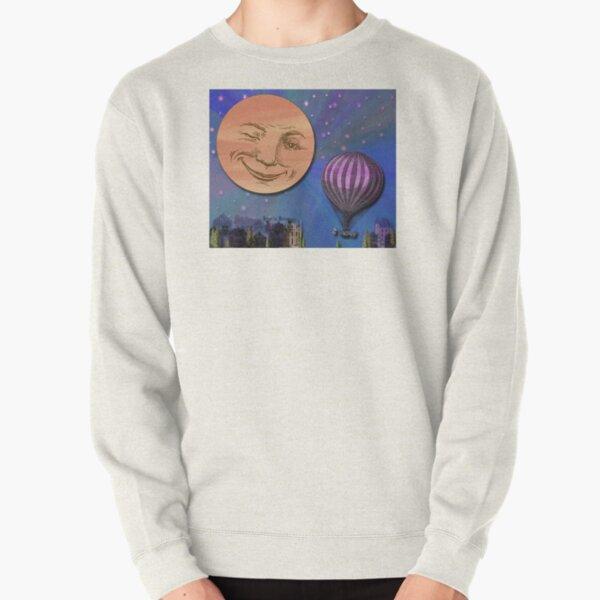 Balloon Flight To Paris Under A Deep Blue Sky Illustration Pullover Sweatshirt