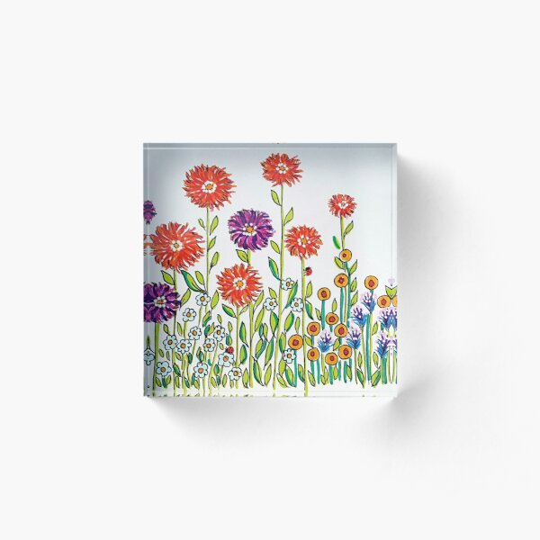 Happy flowers  Acrylic Block
