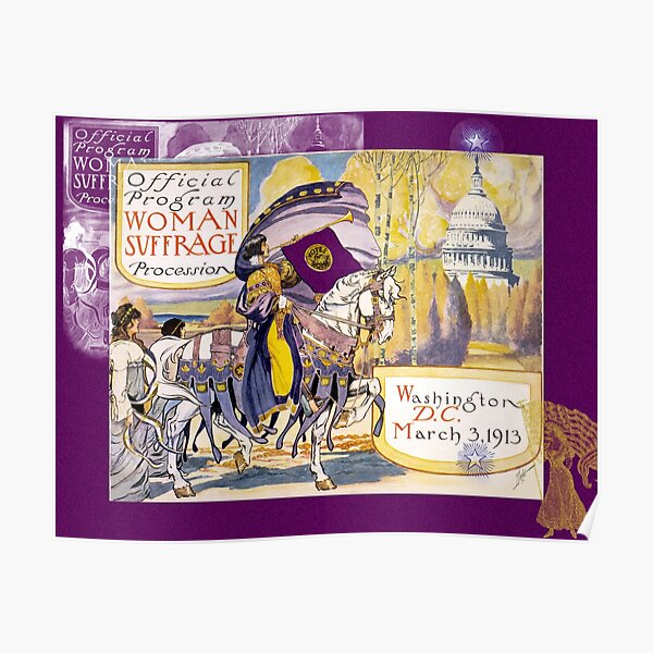 Women's March On Washington 1913, Women's Suffrage With Gorgeous Purple Embellishments,  Poster